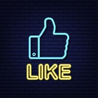 Niebieski jak neon na jasnym tle. ikona kciuka w górę. ręka jak. sieć społecznościowa. ilustracja.