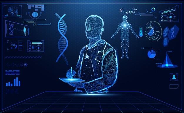 Niebieski jasny hologram lekarza