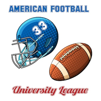 Niebieski kask z numerem i piłką do futbolu amerykańskiego na białym tle. ilustracji wektorowych