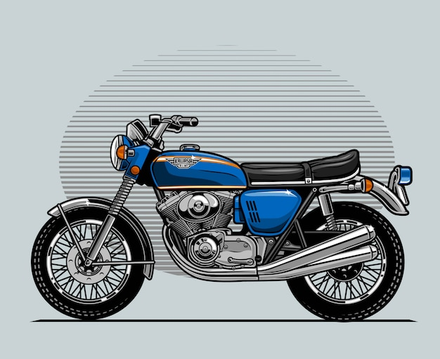 Niebieski klasyczny motocykl