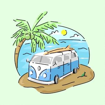 Niebieski klasyczny samochód z płytą surfingową powyżej i plażą za tyłem.