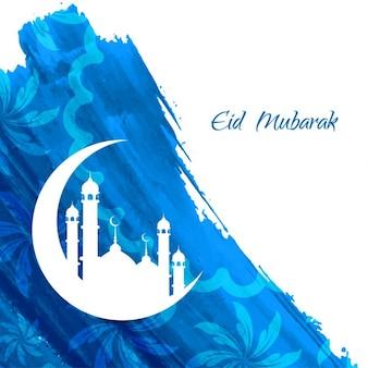 Niebieski kolor eid mubarak akwarela