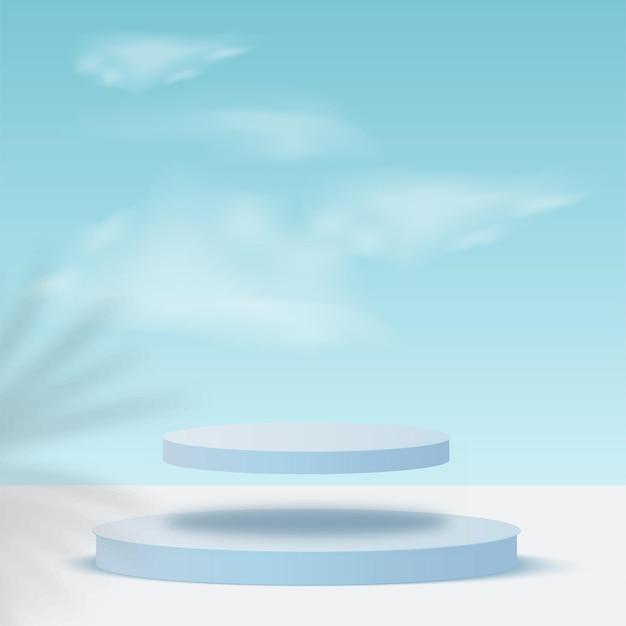 Niebieski kolor geometryczne 3d niebo podium.