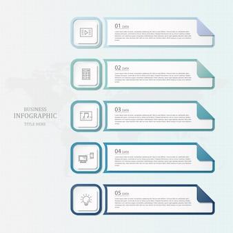 Niebieski kolor infografiki i ikony linii.