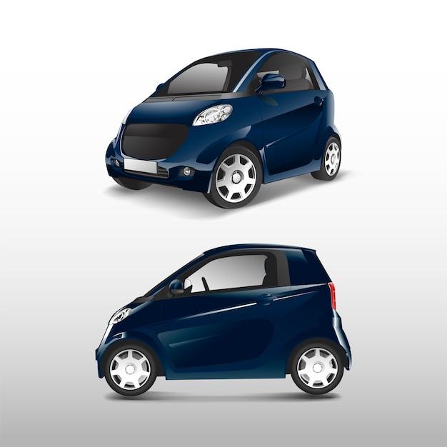 Niebieski kompaktowy samochód hybrydowy wektor