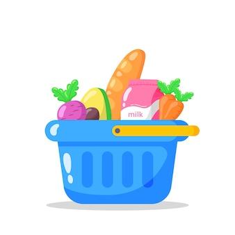 Niebieski koszyk pełen artykułów spożywczych.