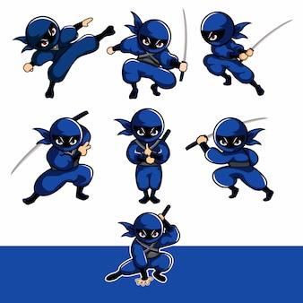 Niebieski kreskówka ninja z siedmioma różnymi pozami za pomocą runi
