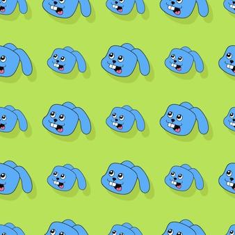 Niebieski królik bezszwowe powtórzyć wzór. tło wektor ilustracja.