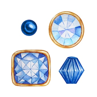 Niebieski kryształ w złotej oprawie i koralikach jubilerskich. ręcznie rysowane zestaw diamentów akwarela.