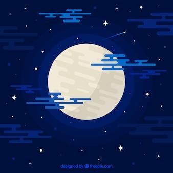 Niebieski księżyc w tle płaskiej konstrukcji