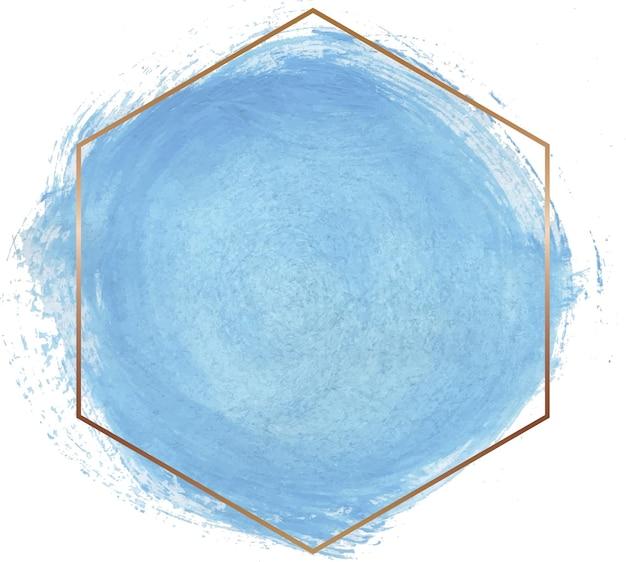 Niebieski kształt akwarela z ramą złotej linii