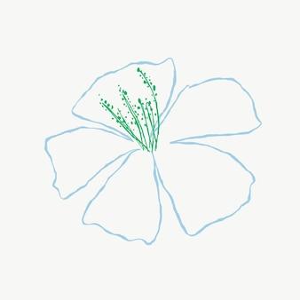 Niebieski kwiat hibiskusa wektor ładny ilustracja doodle