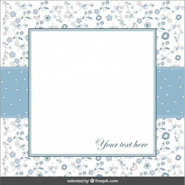 Niebieski kwiatowy kartkę