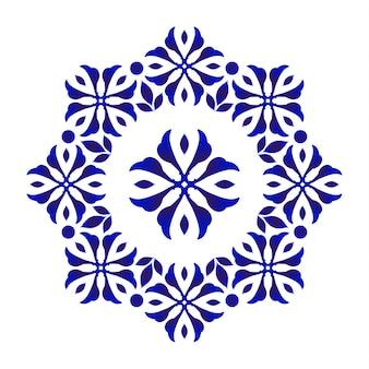 Niebieski kwiatowy ozdobny okrągły