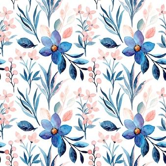 Niebieski kwiatowy wzór akwarela