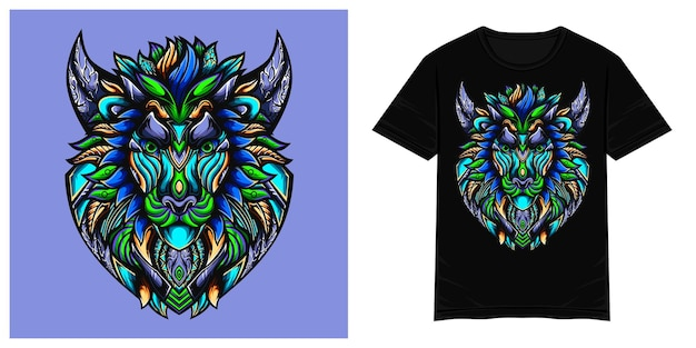 Niebieski lew bajki ilustracja wektorowa tshirt