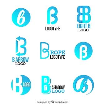 Niebieski litera b kolekcja logo