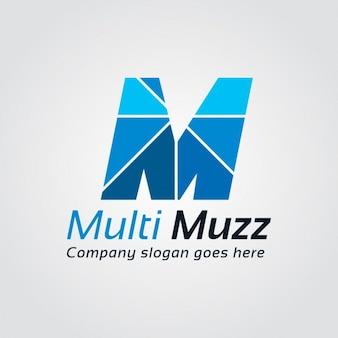Niebieski litera m logo