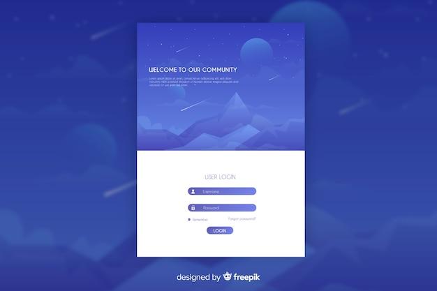 Niebieski login strony docelowej z widokiem na góry w nocy