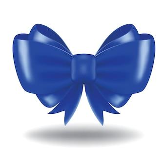 Niebieski łuk prezent i wstążka. obraz zawiera siatkę gradientu