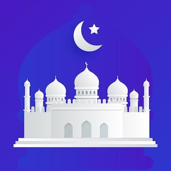 Niebieski meczet ramadhan muzułmanin