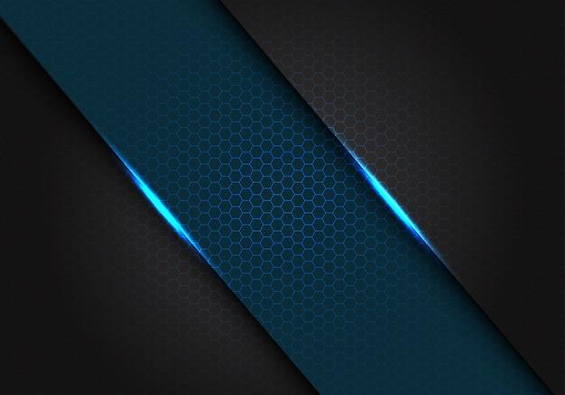 Niebieski metalik na ciemnoszarym tle z sześciokątnym oczkiem.