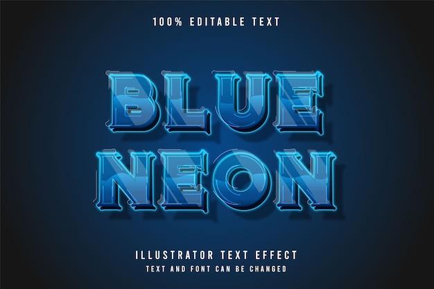 Niebieski neon 3d edytowalny efekt tekstowy. efekt neonu w nowoczesnym stylu