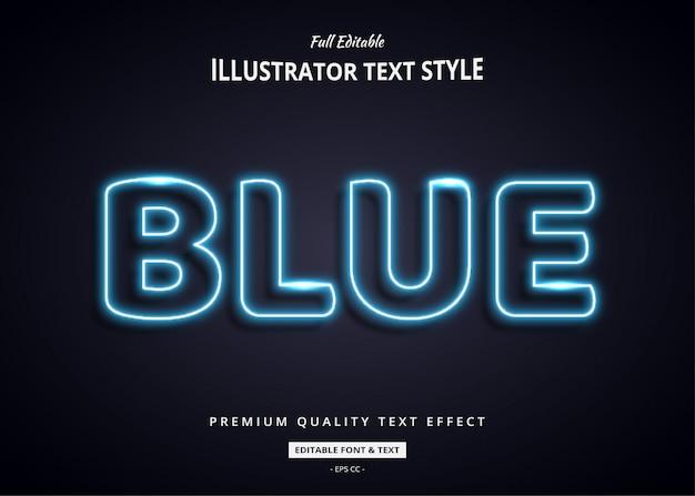 Niebieski neon 3d efekt stylu tekstu