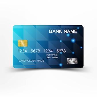 Niebieski nowoczesny projekt karty kredytowej.