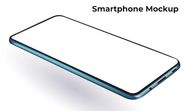 Niebieski nowoczesny smartfon bezramkowy szablon i makieta pustego ekranu, obrócony poziomy widok perspektywiczny. 3d realistyczny izometryczny telefon komórkowy.