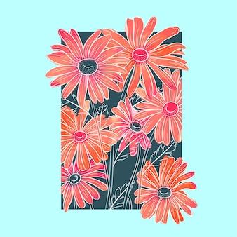 Niebieski obrazek z kwiatami w akwareli