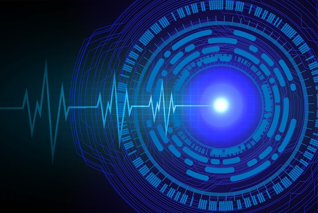 Niebieski obwód oka cyber, fala ekg