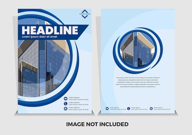 Niebieski okrągły nowoczesny szablon raportu rocznego wektor premium