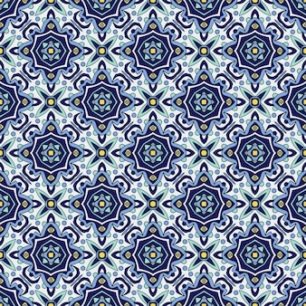 Niebieski ornament tradycyjny portugalski azulejos. orientalny wzór
