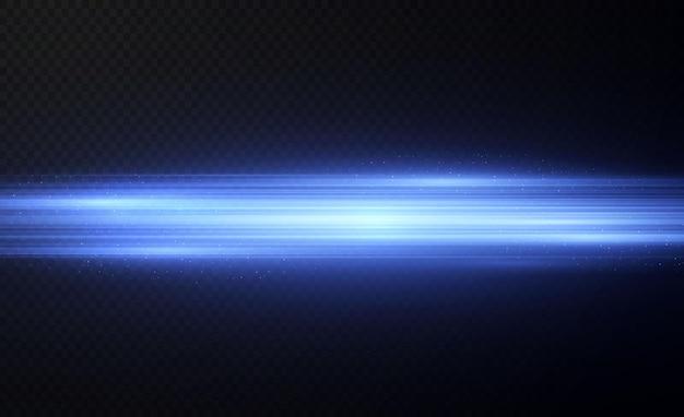 Niebieski pakiet poziomych flar soczewkowych wiązki laserowe poziome promienie świetlnepiękne rozbłyski świetlne