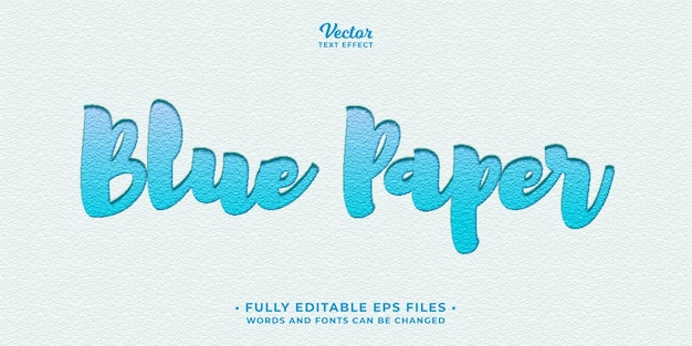 Niebieski papier list naciśnij efekt tekstowy edytowalny eps cc