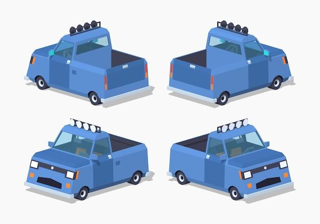 Niebieski pickup izometryczny 3d lowpoly