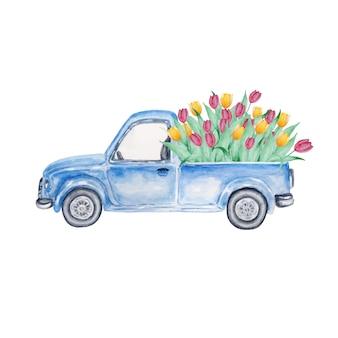 Niebieski pickup vintage truck z tulipanami
