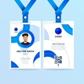 Niebieski pionowy szablon karty identyfikacyjnej