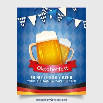 Niebieski plakat oktoberfest z dwoma piwa