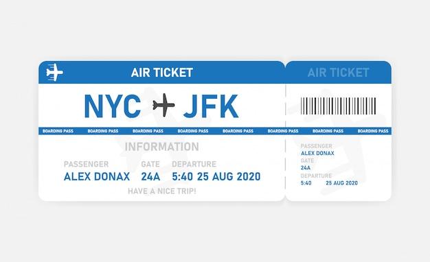 Niebieski płaski bilet lotniczy na białym tle