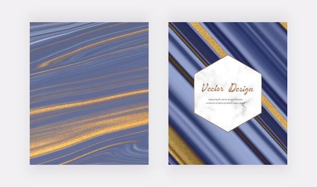 Niebieski płynny tusz ze złotymi brokatowymi okładkami na zaproszenia