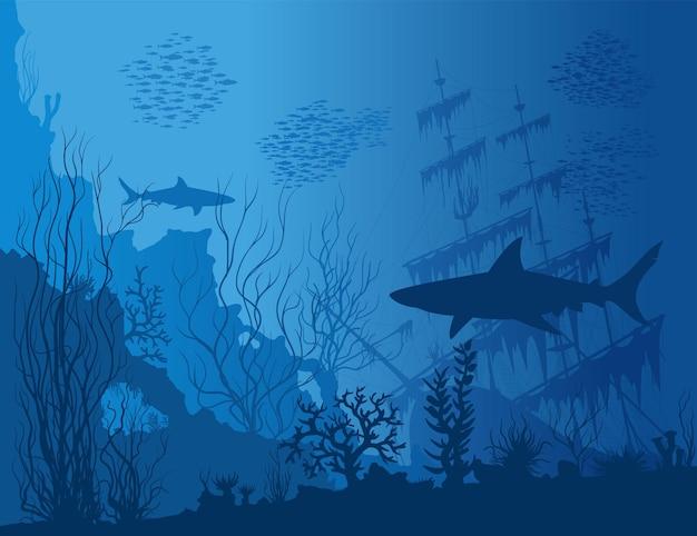 Niebieski podwodny krajobraz z zatopionym statkiem, rekinami i chwastami. ilustracja wektorowa ręcznie rysowane.
