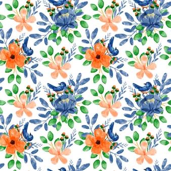 Niebieski pomarańczowy kwiatowy wzór akwarela bezszwowe