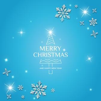 Niebieski post wesołych świąt na instagramie
