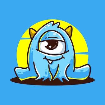 Niebieski potwór kreskówka wektor ikona ilustracja