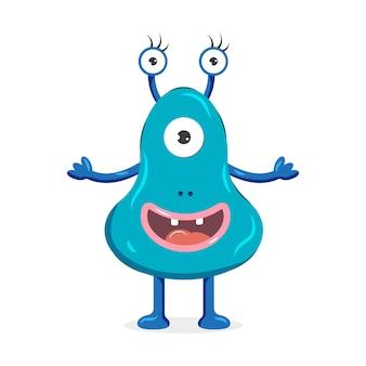 Niebieski potwór z trzema oczami. ładny postać z kreskówki. ilustracja wektorowa dla dzieci.