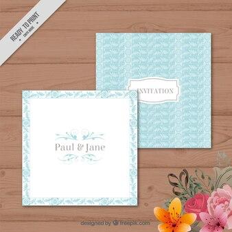 Niebieski pozostawia kwadrat karty ślubu