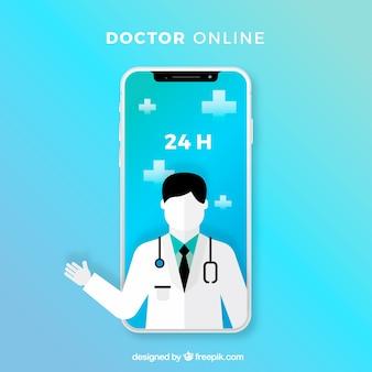 Niebieski projekt lekarza online z smartphone