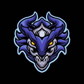 Niebieski projekt logo maskotki głowy potwora